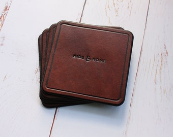 Handmade Leather Coasters, Drink Coaster, Leather Coaster, Coaster Set, Drinkware & Barware, Anniversary Gift