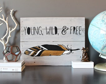 Boho Hipster Tribal Gold feather wood wall art