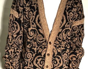 vintage cardigan/ vintage sweater/ vintage print cardigan/ size L