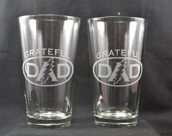 2 Grateful Dad pint glass