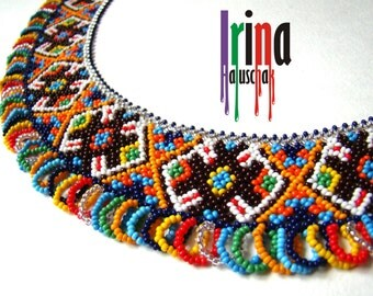 Ukrainian traditional necklace. Beaded collar. Silyanka. Seed bead necklace. Gerdan
