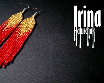 Beaded earrings, seed bead earrings, modern earrings, boho earrings, fringe earrings, beadwork jewelry, red and gold tribal earrings Chevron