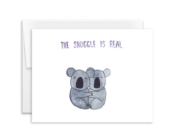 Love Card - The Snuggle is Real Koalas Card - Greeting Card - Card for Husband - Card for Wife - 160101
