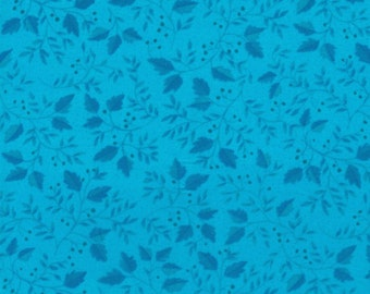 Turquoise Blue Leaves- 100% Cotton Quilting Fabric