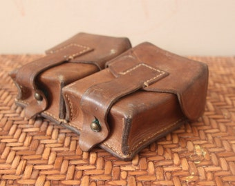 Vintage 1950s European Military Belt Double Pouches /  Light, Medium, Dark Browns / Leather / *Steampunk*