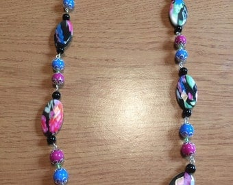 Floral long beaded necklace