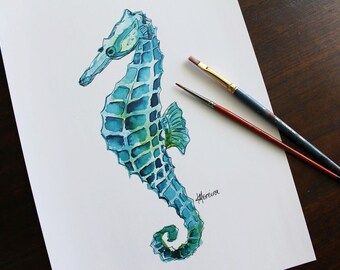 PRINT ~ Watercolour Seahorse, A4 size (21cm x 29.7cm)