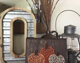 Pumpkin trio string art sign