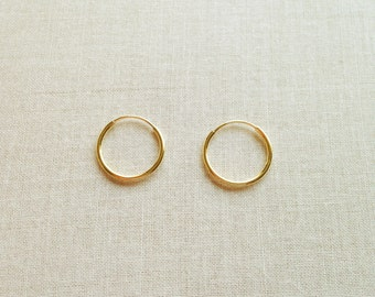 12mm Solid 14k Gold Hoop Earrings - 14k Hoop Earrings - 14k Gold Earrings - Gold Hoop Earrings - Small Gold Hoops Earrings - Tiny Gold Hoops