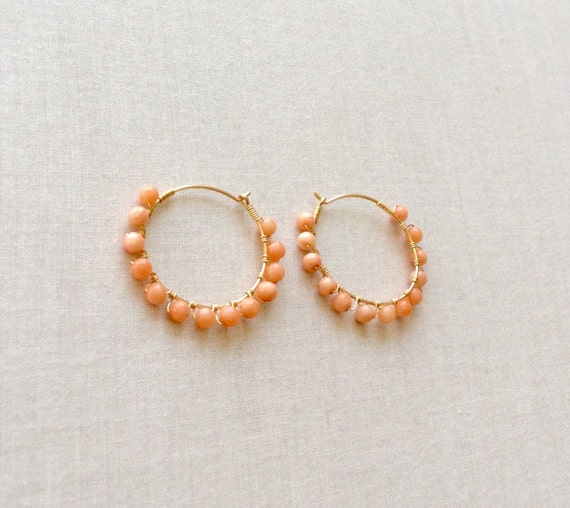 gold coral earrings coral hoop earrings gold by