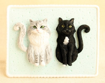 3D custom cat portrait, custom pet portrait, pet portraits, cat sculpture, cat art, polymer clay cat, from picture to 3D portrait, pet art