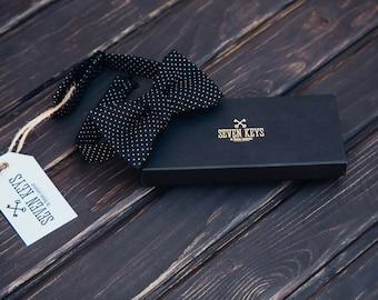 Men's bow tie. Vintage black with white polka dots bow tie  - cotton, elegant, black
