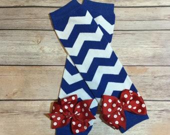 Royal Blue and White Chevron Leg Warmers with Bows | July 4th | Patriotic Leg Warmer | Superhero Leg Warmer | Krafts by Kuties