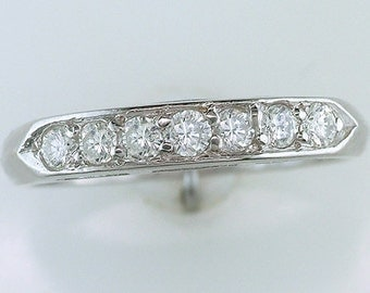 Vintage .30ct Diamond Platinum Retro Wedding Ring Band