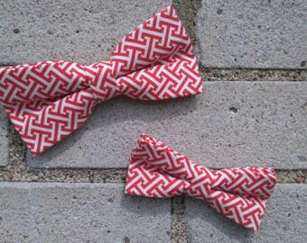 bowtie duet geometrical pattern white and orange
