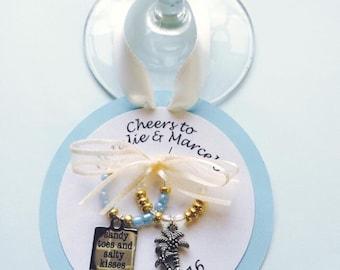 Beach Wedding Wine Charms-Engagement Wine Charms-Destination wedding favor-Bridal Shower Decorations