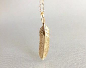 Gold Feather Necklace,  Long Feather Necklace, 14K Gold Filled Necklace, Boho Jewelry, Bridesmaid Necklace Layering Necklace Simple Necklace