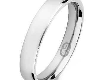 Titanium High Polished 4mm Half Round Comfort Fit Wedding Band Ring Sizes 4.5 - 7 Including Half Sizes