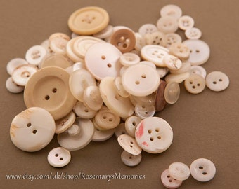 White Vintage Buttons, plastic, shell, mother of pearl, small, over 100 buttons, 55 gram, for crafting and embellishing, selection, MB6