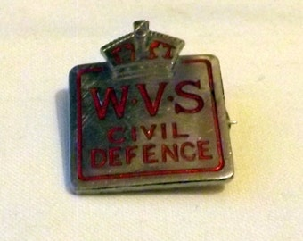 W.V.S (Women's Voluntary Service) Badge 1930/40s, British Vintage