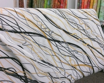 Kanvas Studio 6363M 90 Celebration, Metallic gold, grey, and black wavy lines w/ white background