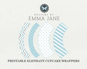Printable Blue Elephant Birthday Cupcake Wrappers, Party Printables, Instant Download, Elephant Party Decorations, 1st 2nd 3rd 4th Birthday