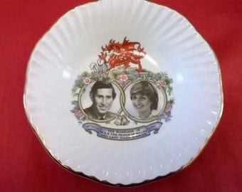 ON SALE Charles Diana Wedding 1981 Trinket Dish, Commemorate The Marriage Of  Prince Charles And Lady Diana Spencer,Made In England