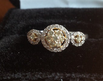 Fancy Yellow and White Diamond Halo White Gold Ring