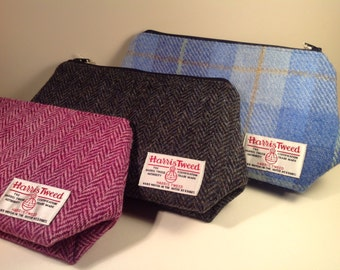 Handmade Harris Tweed toilet bag/wash bag - waterproof lined - choice of gorgeous colours