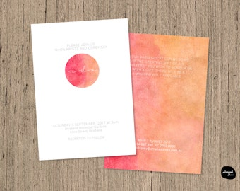 "I DO ~ WEDDING INVITATION ~ Modern Watercolour ""I do"" Wedding Invitation - 7x5 - Circle - Colourful - Printable File"