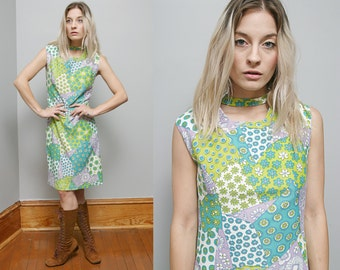 Sale 40% Off VTG 60's Mixed Pattern Floral MOD Psychedelic Dress - S