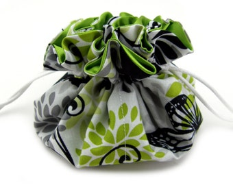 Travel Jewelry Bag, Drawstring Jewelry Bag, Drawstring, Bag, Pouch, Jewelry Pouch, Jewelry Organizer, White, Lime Green, Black Bold Print
