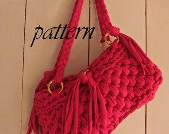 Digital Crochet Pattern T Shirt Yarn Bag Download Crochet Bag