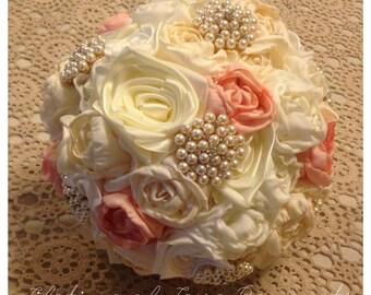 Peach & Cream satin Bouquet