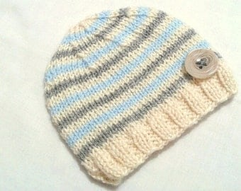 Baby Boy Hats, Newborn Hats, Baby Knit Hat, Infant Boy Hats, Newborn Photo Prop, Gray-blue-cream Hat, Baby Shower Gift, Christmas Baby Hat,