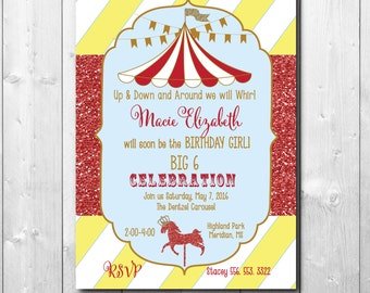 Carousel/Carnival Birthday Invitation with glitter details / digital file or printing/ word can be changed