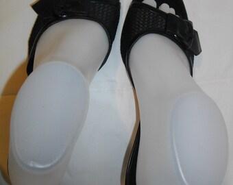 Black Via Spiga 6.5 M 6-1/2 Net Style Vamp Slip On Low Heels Shoes Sandals