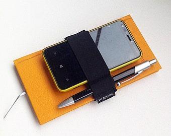 journal pen holder, pen holder, planner band, stylus holder, pen case, pen bandolier, phone case, phone cover, gifts for him, erin condren