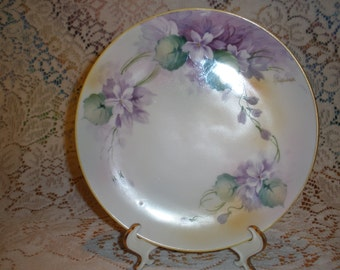 Nippon Violet Cabinet Plate Circa 1911 Signed S Nadesco Collectible Porcelain Wall Home Decor