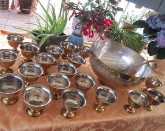 Engraved Brass Silver Punch Bowl Set Vintage1960's 21pc Set Entertaining Serving Party Wedding