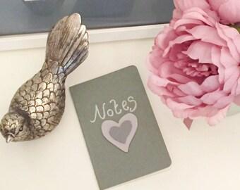 Grey Love Heart Notebook