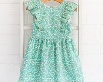 Mint Floral Pinafore