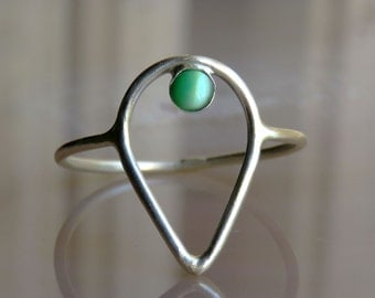 Sterling Silver ring with green stone, Gemstone Ring, Silver Rings For Women