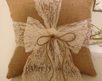 Burlap and lace pillow,