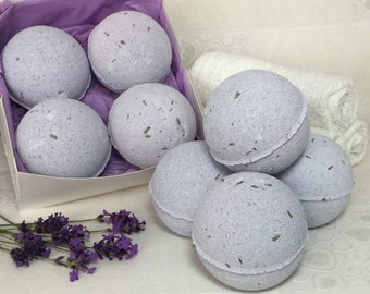 4 x Lovely Lavender Large Bath Bombs in gift box