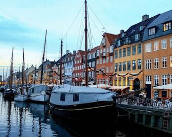 Copenhagen At Dusk, Denmark, Copenhagen Photo, Canal, Canal Houses, Architecture, Europe, Nyhaven, Wall Art, Prints, Photography, Colors