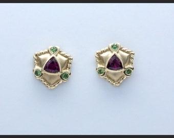 Rhodolite and Tsavorite Garnet Earrings