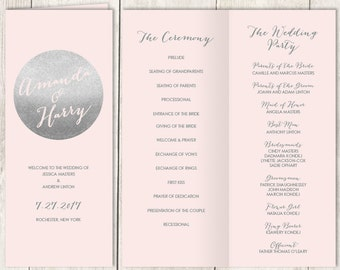 Silver Folding Wedding Program DIY / Metallic Silver and Blush Pink / Blush and Gray / Bridal Party, Ceremony Schedule ▷Printable PDF