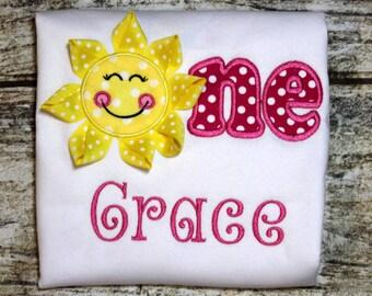 You are my sunshine birthday shirt, baby girls first birthday shirt, toddler girls custom birthday shirt, girls name shirt, personalized