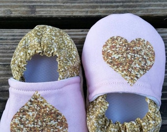 Pink with Gold Hearts Soft Sole Moccasins